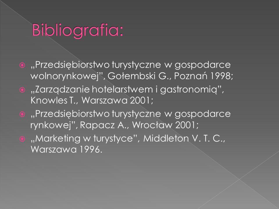""" """"Przedsiębiorstwo turystyczne w gospodarce wolnorynkowej"""", Gołembski G., Poznań 1998;  """"Zarządzanie hotelarstwem i gastronomią"""", Knowles T., Warsza"""