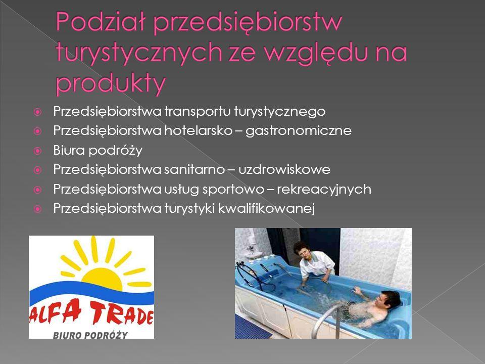  Przedsiębiorstwa transportu turystycznego  Przedsiębiorstwa hotelarsko – gastronomiczne  Biura podróży  Przedsiębiorstwa sanitarno – uzdrowiskowe