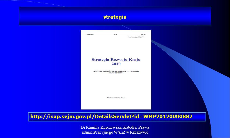Dr Kamilla Kurczewska, Katedra Prawa administracyjnego WSIiZ w Rzeszowie http://isap.sejm.gov.pl/DetailsServlet?id=WMP20120000882 strategia