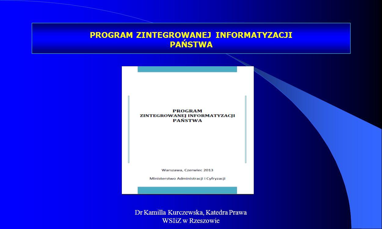 Dr Kamilla Kurczewska, Katedra Prawa WSIiZ w Rzeszowie PROGRAM ZINTEGROWANEJ INFORMATYZACJI PAŃSTWA
