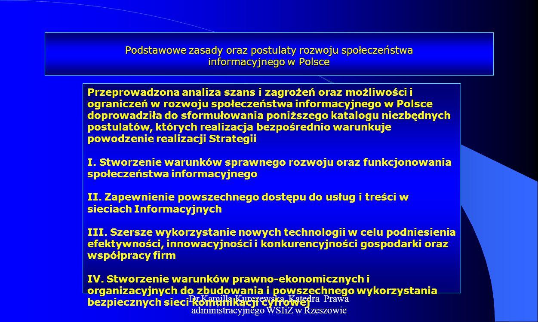 Dr Kamilla Kurczewska, Katedra Prawa administracyjnego WSIiZ w Rzeszowie Podstawowe zasady oraz postulaty rozwoju społeczeństwa informacyjnego w Polsc
