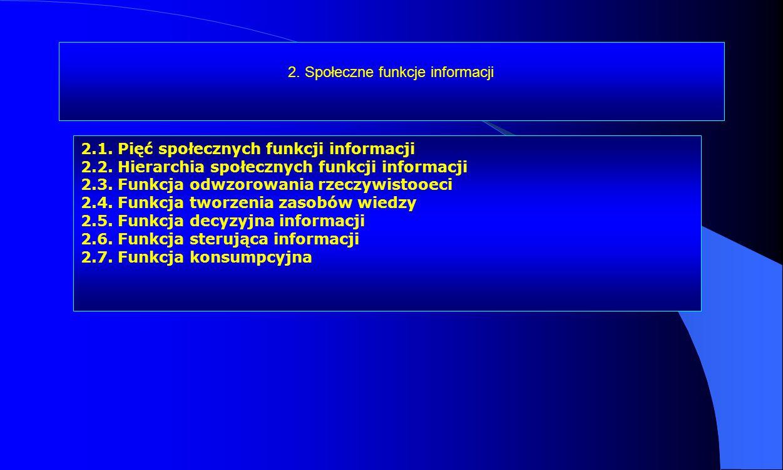 2. Społeczne funkcje informacji 2.1. Pięć społecznych funkcji informacji 2.2. Hierarchia społecznych funkcji informacji 2.3. Funkcja odwzorowania rzec