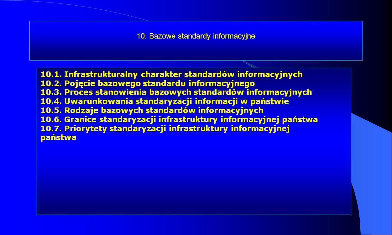 10. Bazowe standardy informacyjne 10.1. Infrastrukturalny charakter standardów informacyjnych 10.2. Pojęcie bazowego standardu informacyjnego 10.3. Pr