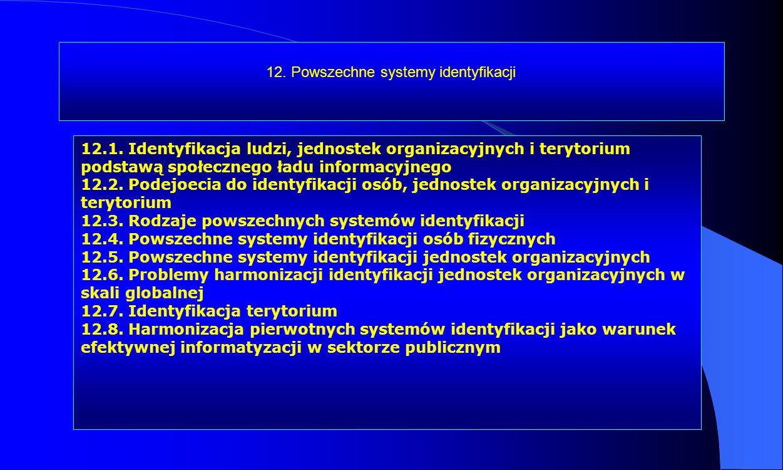 12. Powszechne systemy identyfikacji 12.1. Identyfikacja ludzi, jednostek organizacyjnych i terytorium podstawą społecznego ładu informacyjnego 12.2.