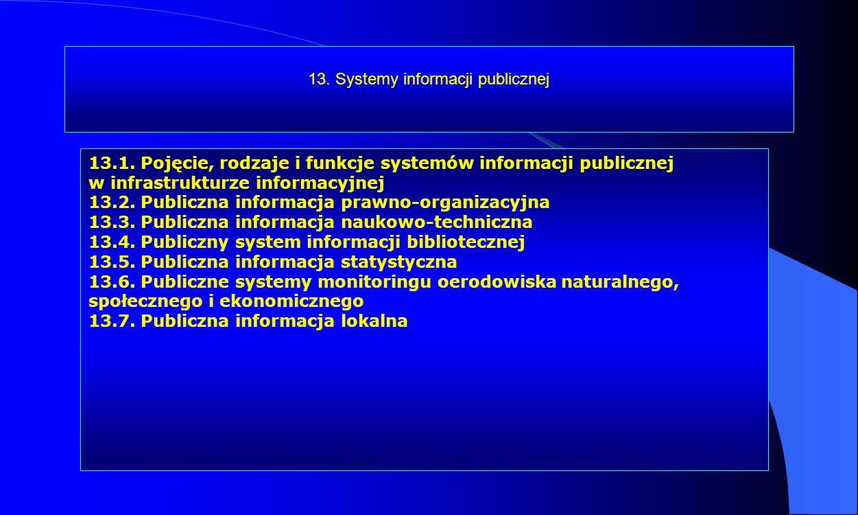 13. Systemy informacji publicznej 13.1. Pojęcie, rodzaje i funkcje systemów informacji publicznej w infrastrukturze informacyjnej 13.2. Publiczna info