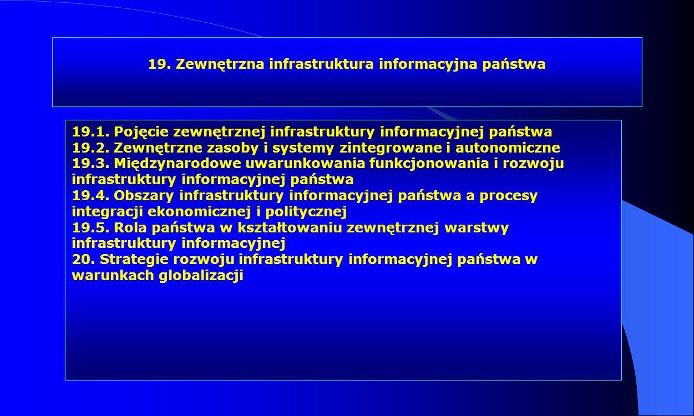 19. Zewnętrzna infrastruktura informacyjna państwa 19.1. Pojęcie zewnętrznej infrastruktury informacyjnej państwa 19.2. Zewnętrzne zasoby i systemy zi