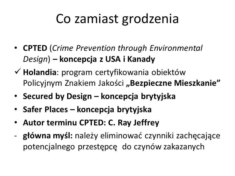 Co zamiast grodzenia CPTED (Crime Prevention through Environmental Design) – koncepcja z USA i Kanady Holandia: program certyfikowania obiektów Policy