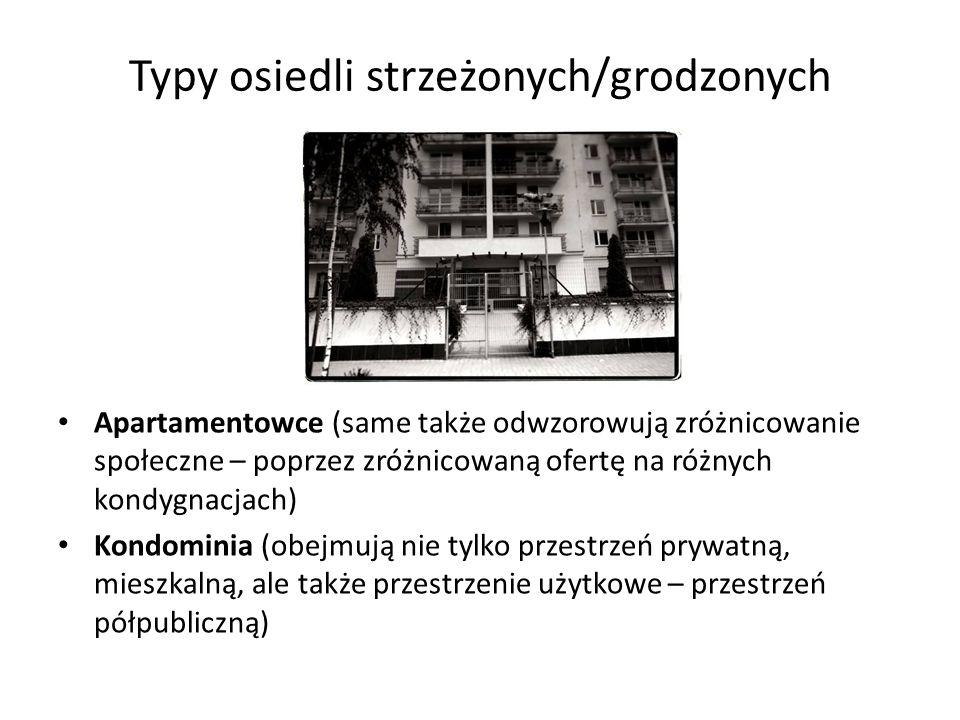 Typy osiedli strzeżonych/grodzonych Apartamentowce (same także odwzorowują zróżnicowanie społeczne – poprzez zróżnicowaną ofertę na różnych kondygnacj