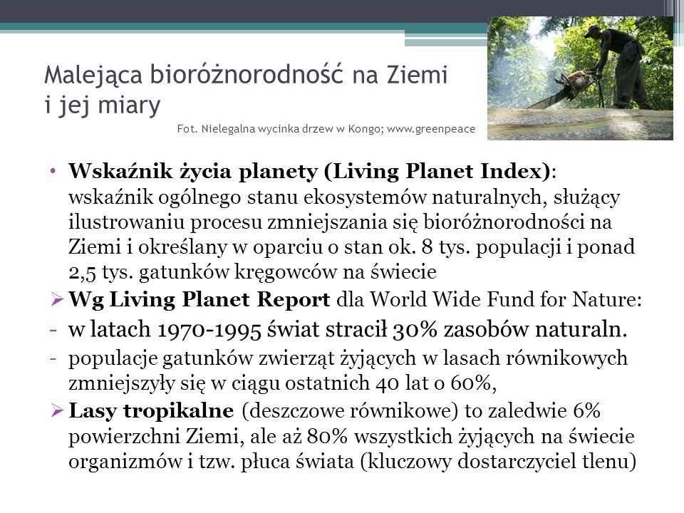 Malejąca bioróżnorodność na Ziemi i jej miary Fot. Nielegalna wycinka drzew w Kongo; www.greenpeace Wskaźnik życia planety (Living Planet Index): wska