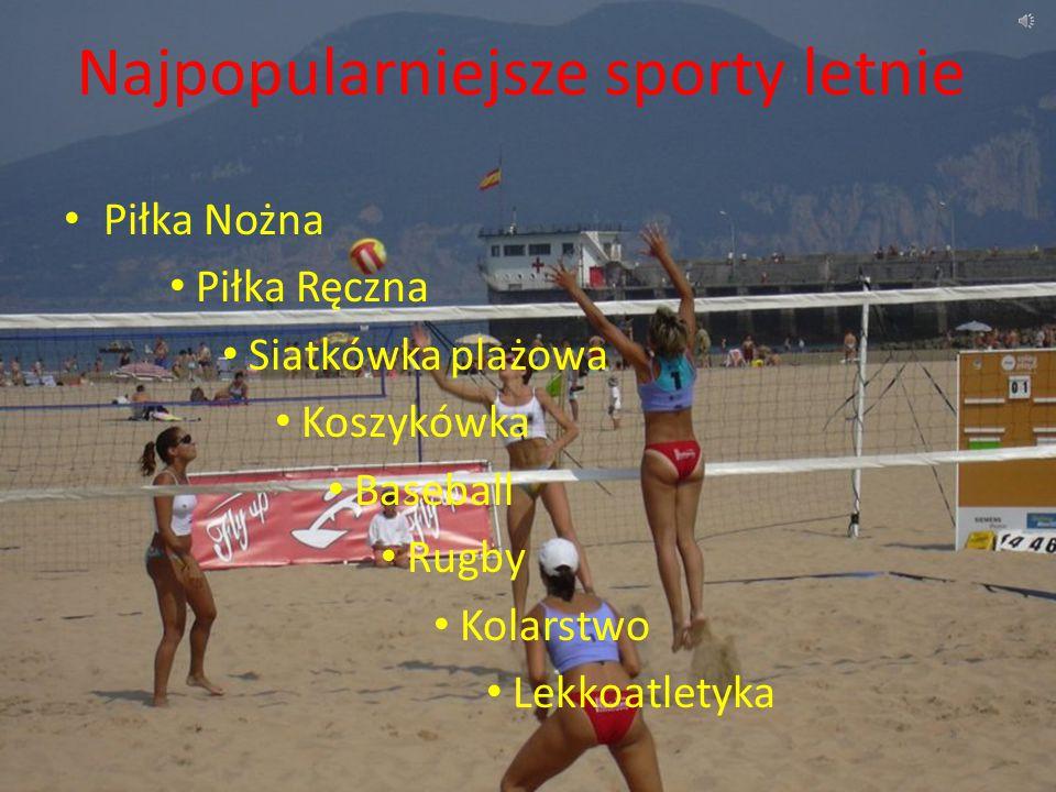 Najpopularniejsze sporty letnie Piłka Nożna Piłka Ręczna Siatkówka plażowa Koszykówka Baseball Rugby Kolarstwo Lekkoatletyka