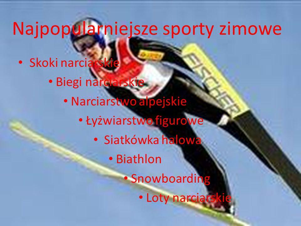 Najpopularniejsze sporty zimowe Skoki narciarskie Biegi narciarskie Narciarstwo alpejskie Łyżwiarstwo figurowe Siatkówka halowa Biathlon Snowboarding Loty narciarskie