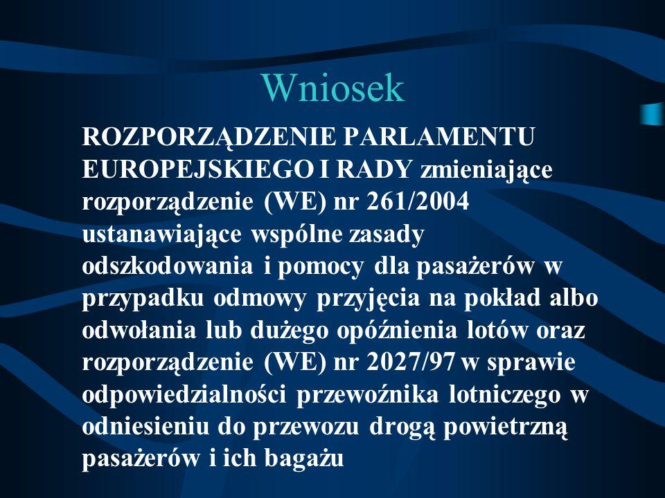 Wniosek ROZPORZĄDZENIE PARLAMENTU EUROPEJSKIEGO I RADY zmieniające rozporządzenie (WE) nr 261/2004 ustanawiające wspólne zasady odszkodowania i pomocy