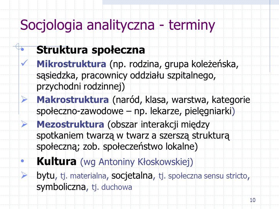 10 Socjologia analityczna - terminy Struktura społeczna Mikrostruktura (np. rodzina, grupa koleżeńska, sąsiedzka, pracownicy oddziału szpitalnego, prz