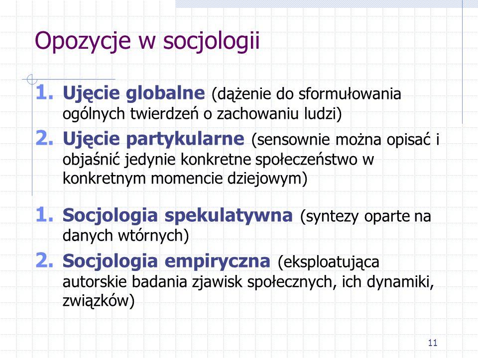 11 Opozycje w socjologii 1. Ujęcie globalne (dążenie do sformułowania ogólnych twierdzeń o zachowaniu ludzi) 2. Ujęcie partykularne (sensownie można o
