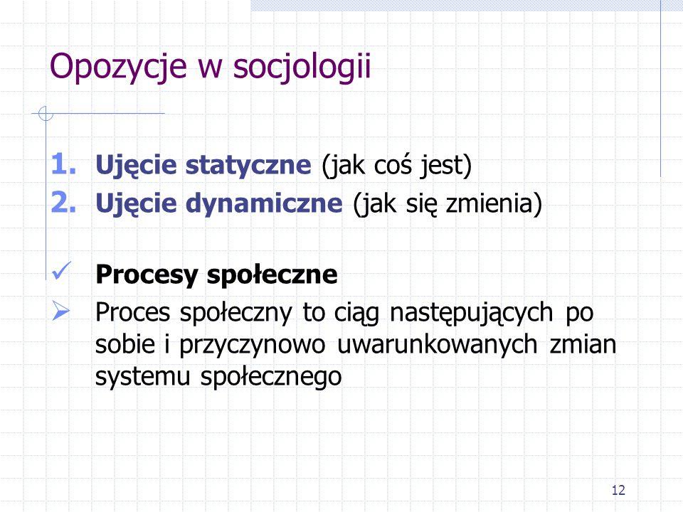 12 Opozycje w socjologii 1. Ujęcie statyczne (jak coś jest) 2. Ujęcie dynamiczne (jak się zmienia) Procesy społeczne  Proces społeczny to ciąg następ