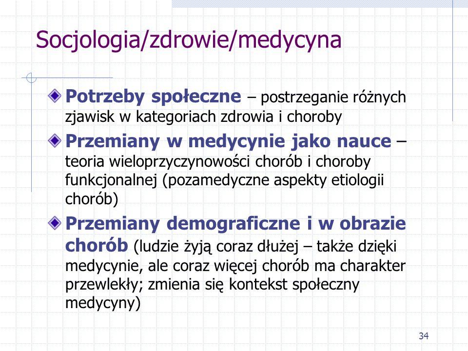34 Socjologia/zdrowie/medycyna Potrzeby społeczne – postrzeganie różnych zjawisk w kategoriach zdrowia i choroby Przemiany w medycynie jako nauce – te
