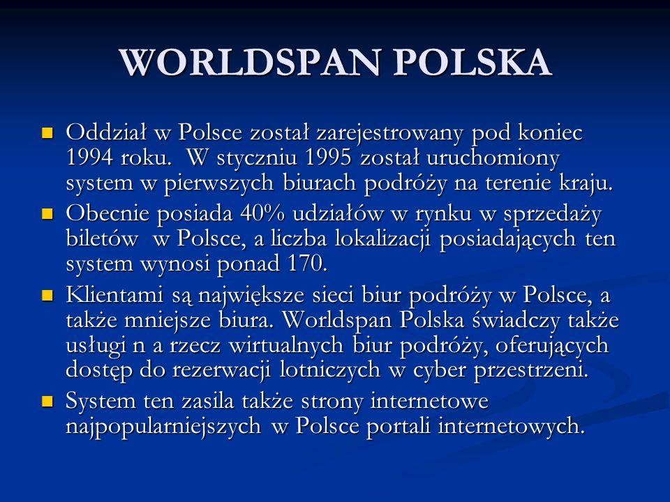 WORLDSPAN POLSKA Oddział w Polsce został zarejestrowany pod koniec 1994 roku. W styczniu 1995 został uruchomiony system w pierwszych biurach podróży n