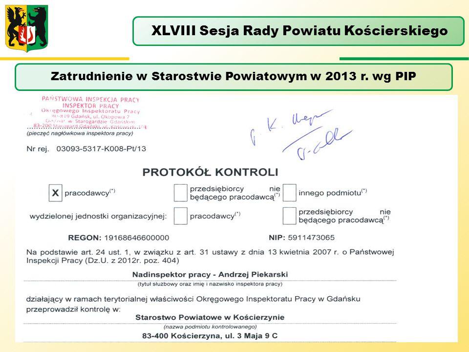 Zatrudnienie w Starostwie Powiatowym w 2013 r. wg PIP XLVIII Sesja Rady Powiatu Kościerskiego