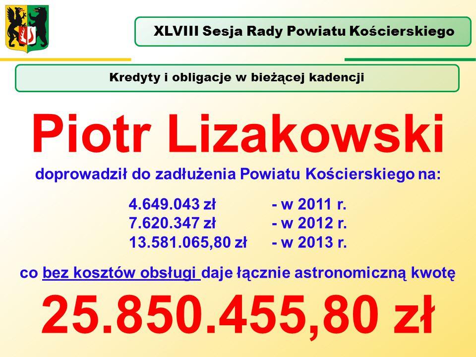 Kredyty i obligacje w bieżącej kadencji XLVIII Sesja Rady Powiatu Kościerskiego Piotr Lizakowski doprowadził do zadłużenia Powiatu Kościerskiego na: 4