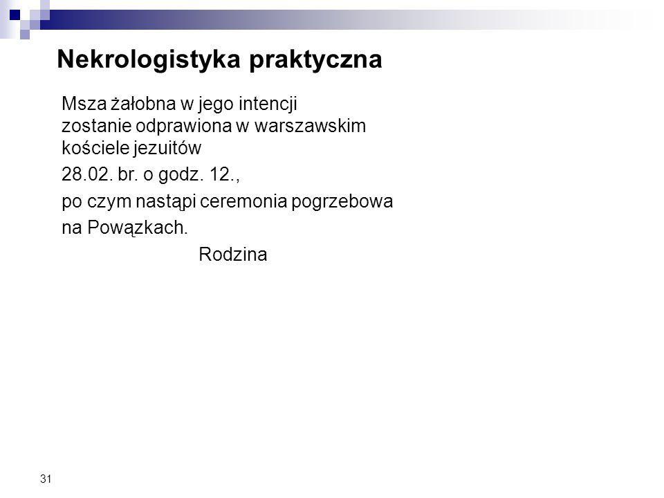 31 Nekrologistyka praktyczna Msza żałobna w jego intencji zostanie odprawiona w warszawskim kościele jezuitów 28.02. br. o godz. 12., po czym nastąpi