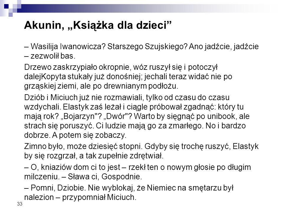 """33 Akunin, """"Książka dla dzieci"""" – Wasilija Iwanowicza? Starszego Szujskiego? Ano jadźcie, jadźcie – zezwolił bas. Drzewo zaskrzypiało okropnie, wóz ru"""