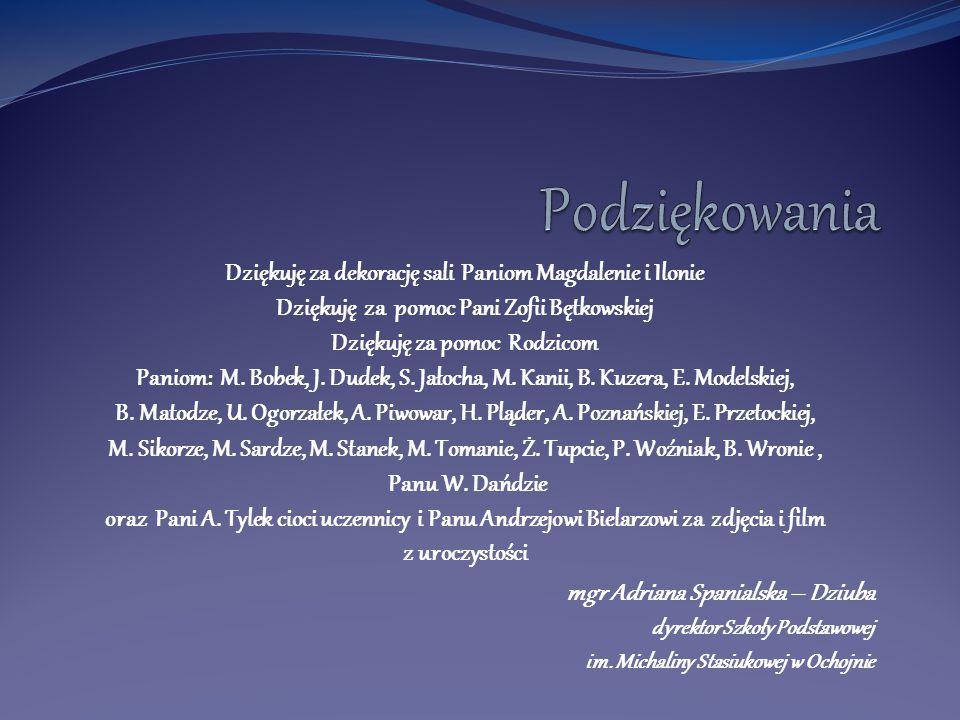 Dziękuję za dekorację sali Paniom Magdalenie i Ilonie Dziękuję za pomoc Pani Zofii Bętkowskiej Dziękuję za pomoc Rodzicom Paniom: M. Bobek, J. Dudek,