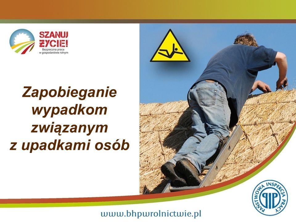 Wypadki związane z upadkami osób 2 Najczęstsze zdarzenia wypadkowe, którym ulegają rolnicy: Wypadki związane z upadkami osób stanowią około 50 % wszystkich zarejestrowanych wypadków, do jakich dochodzi w gospodarstwach rolnych.