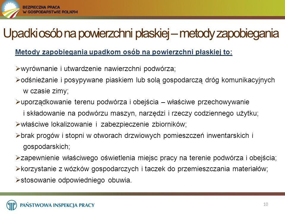 Upadki osób na powierzchni płaskiej – metody zapobiegania 10 Metody zapobiegania upadkom osób na powierzchni płaskiej to:  wyrównanie i utwardzenie n