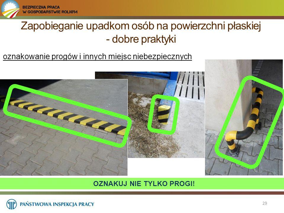 Zapobieganie upadkom osób na powierzchni płaskiej - dobre praktyki 29 oznakowanie progów i innych miejsc niebezpiecznych OZNAKUJ NIE TYLKO PROGI!
