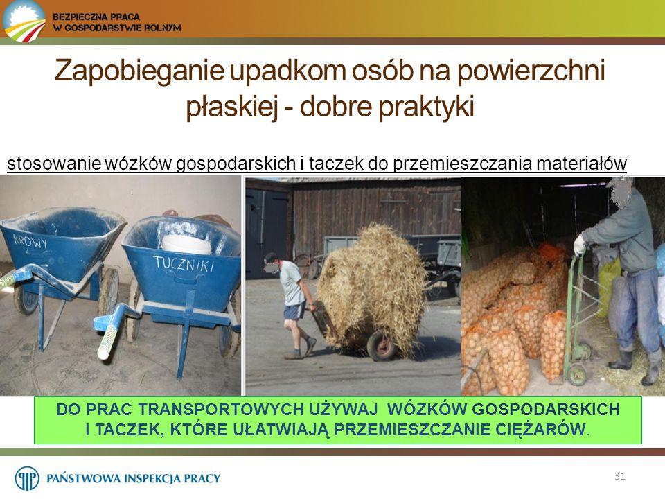 Zapobieganie upadkom osób na powierzchni płaskiej - dobre praktyki 31 stosowanie wózków gospodarskich i taczek do przemieszczania materiałów DO PRAC T