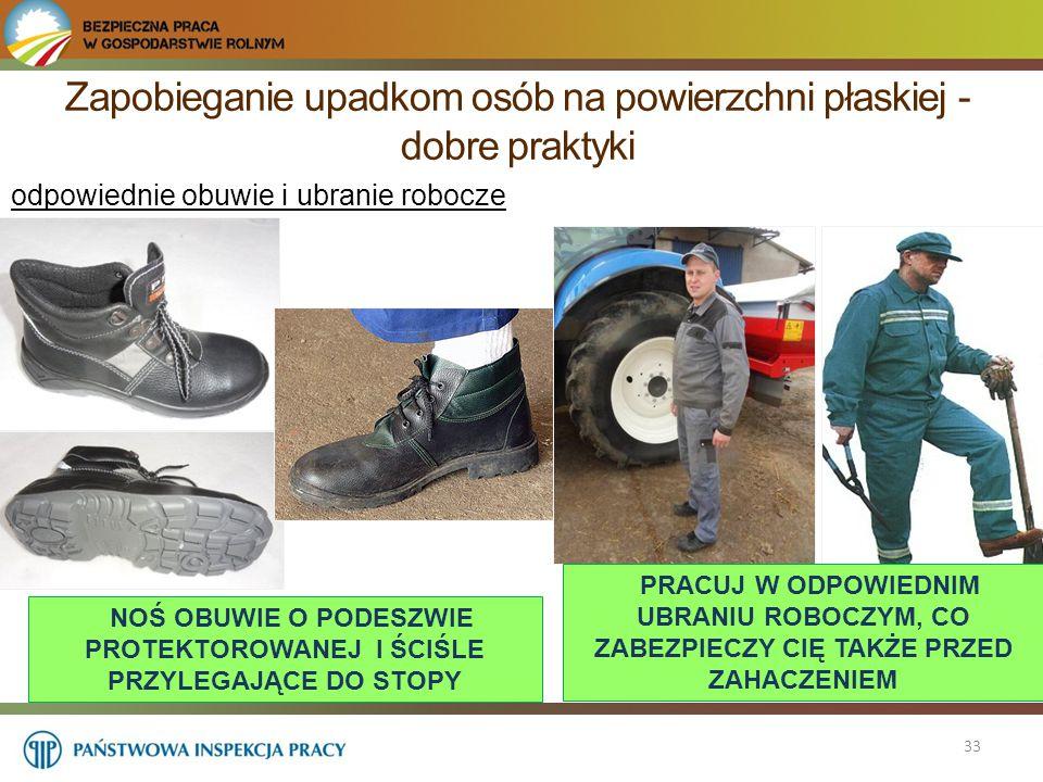 Zapobieganie upadkom osób na powierzchni płaskiej - dobre praktyki 33 odpowiednie obuwie i ubranie robocze NOŚ OBUWIE O PODESZWIE PROTEKTOROWANEJ I ŚC
