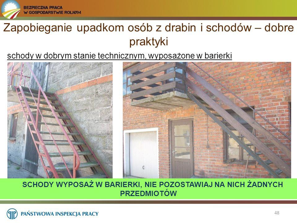 48 schody w dobrym stanie technicznym, wyposażone w barierki Zapobieganie upadkom osób z drabin i schodów – dobre praktyki SCHODY WYPOSAŻ W BARIERKI,