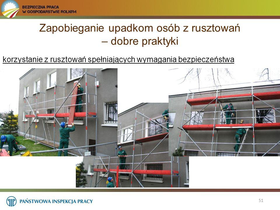 51 korzystanie z rusztowań spełniających wymagania bezpieczeństwa Zapobieganie upadkom osób z rusztowań – dobre praktyki