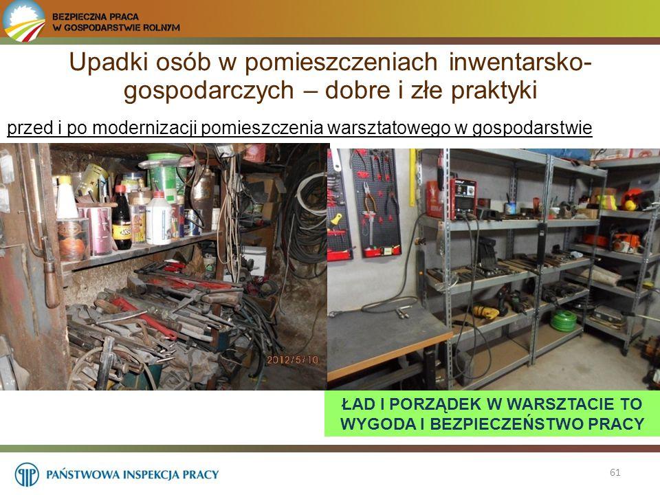61 przed i po modernizacji pomieszczenia warsztatowego w gospodarstwie Upadki osób w pomieszczeniach inwentarsko- gospodarczych – dobre i złe praktyki