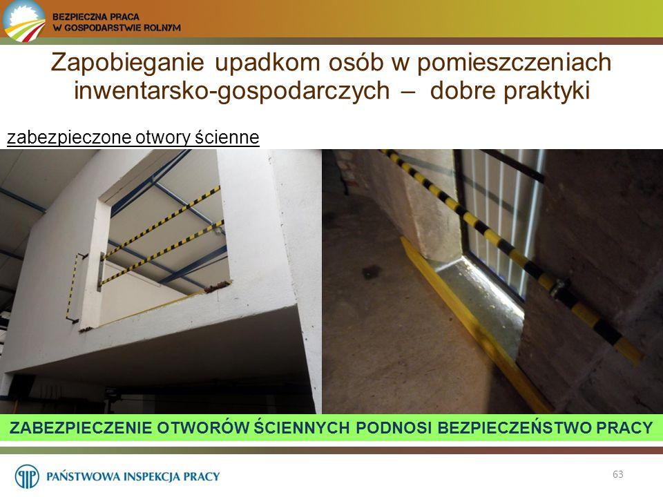 63 zabezpieczone otwory ścienne Zapobieganie upadkom osób w pomieszczeniach inwentarsko-gospodarczych – dobre praktyki ZABEZPIECZENIE OTWORÓW ŚCIENNYC
