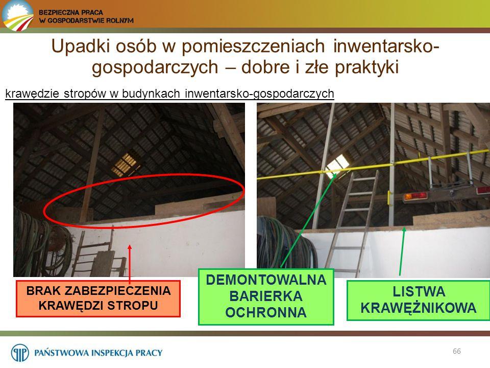 66 krawędzie stropów w budynkach inwentarsko-gospodarczych BRAK ZABEZPIECZENIA KRAWĘDZI STROPU DEMONTOWALNA BARIERKA OCHRONNA LISTWA KRAWĘŻNIKOWA Upad