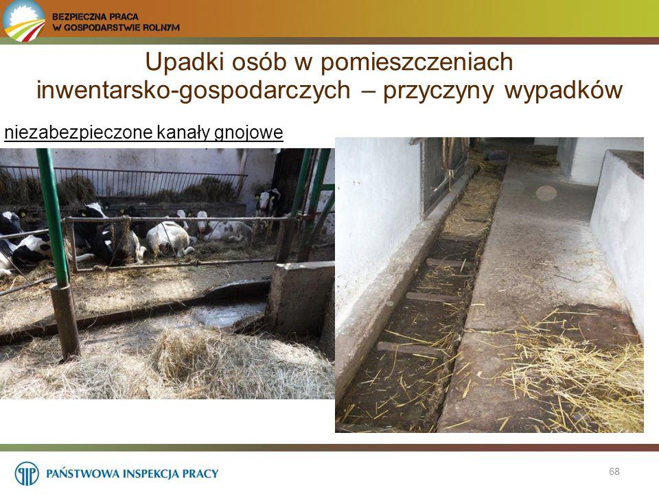 68 niezabezpieczone kanały gnojowe Upadki osób w pomieszczeniach inwentarsko-gospodarczych – przyczyny wypadków