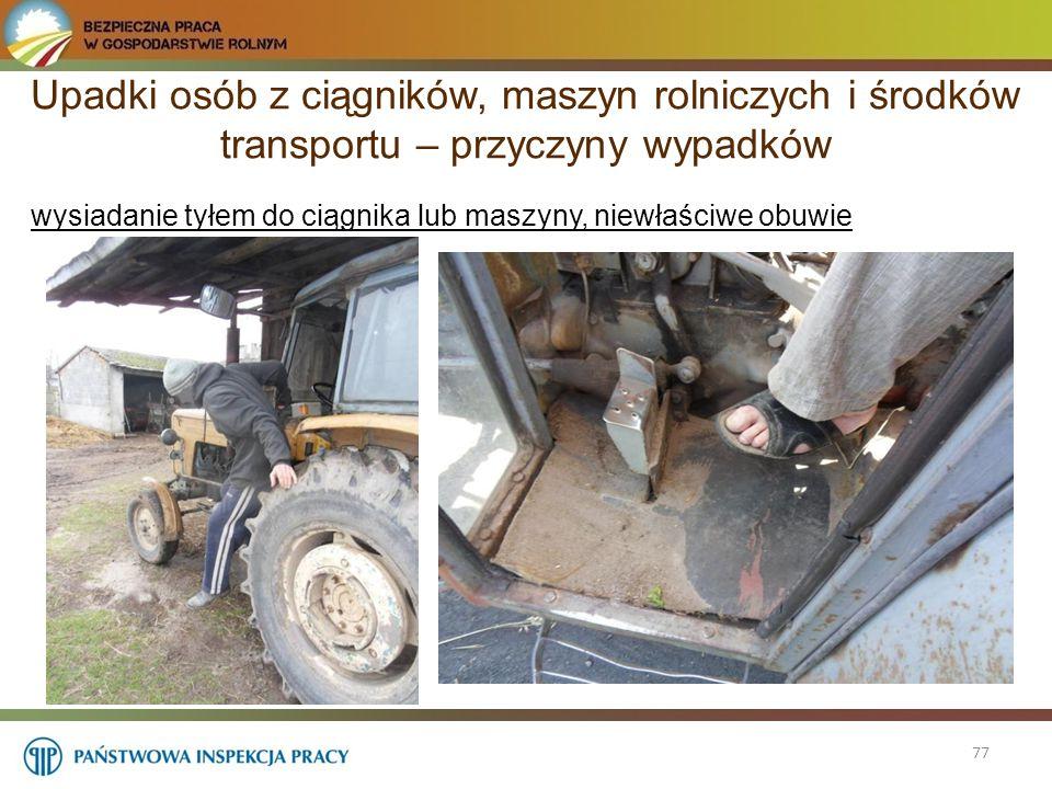 Upadki osób z ciągników, maszyn rolniczych i środków transportu – przyczyny wypadków 77 wysiadanie tyłem do ciągnika lub maszyny, niewłaściwe obuwie