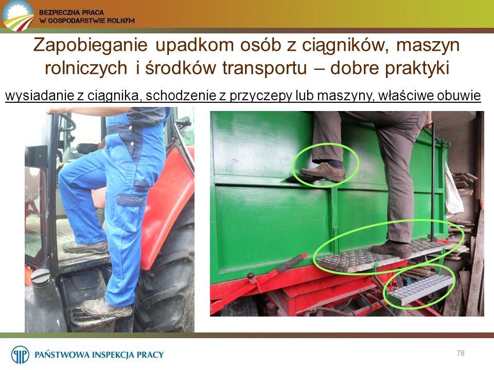 Zapobieganie upadkom osób z ciągników, maszyn rolniczych i środków transportu – dobre praktyki 78 wysiadanie z ciągnika, schodzenie z przyczepy lub ma