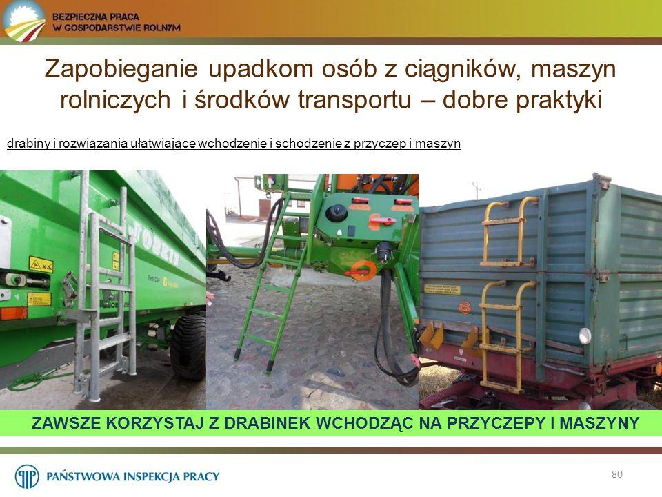 Zapobieganie upadkom osób z ciągników, maszyn rolniczych i środków transportu – dobre praktyki 80 drabiny i rozwiązania ułatwiające wchodzenie i schod