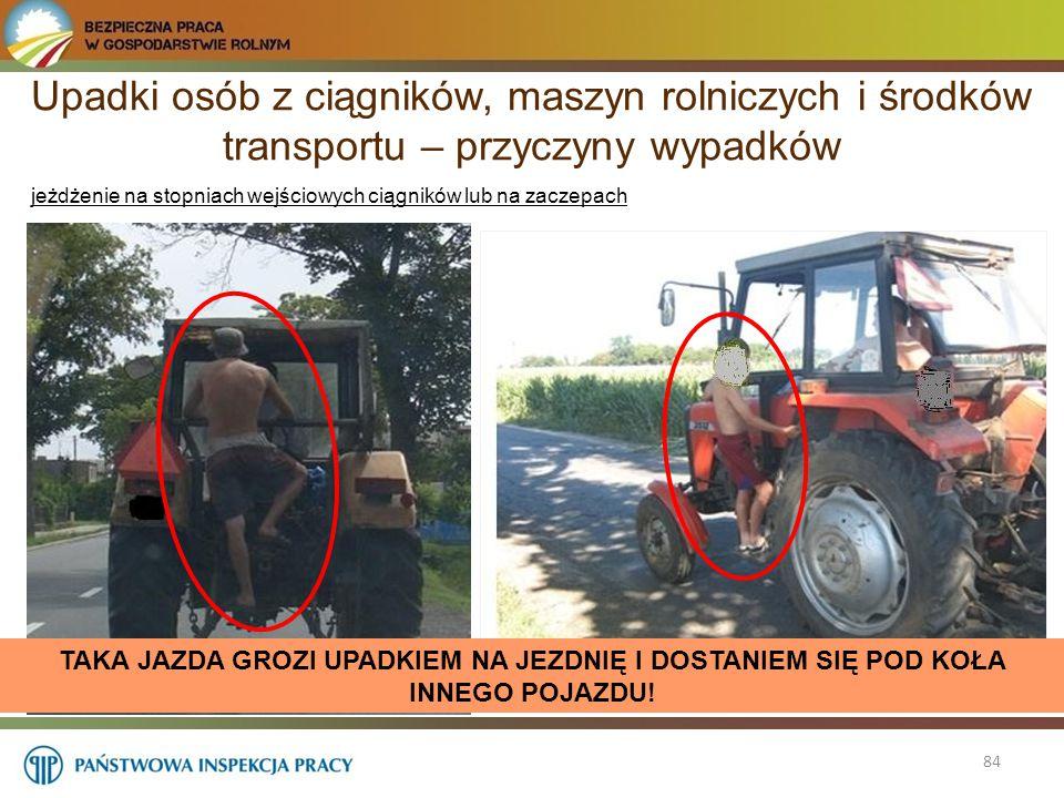 Upadki osób z ciągników, maszyn rolniczych i środków transportu – przyczyny wypadków 84 jeżdżenie na stopniach wejściowych ciągników lub na zaczepach