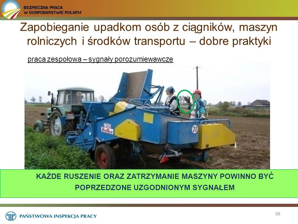 88 Zapobieganie upadkom osób z ciągników, maszyn rolniczych i środków transportu – dobre praktyki praca zespołowa – sygnały porozumiewawcze KAŻDE RUSZ