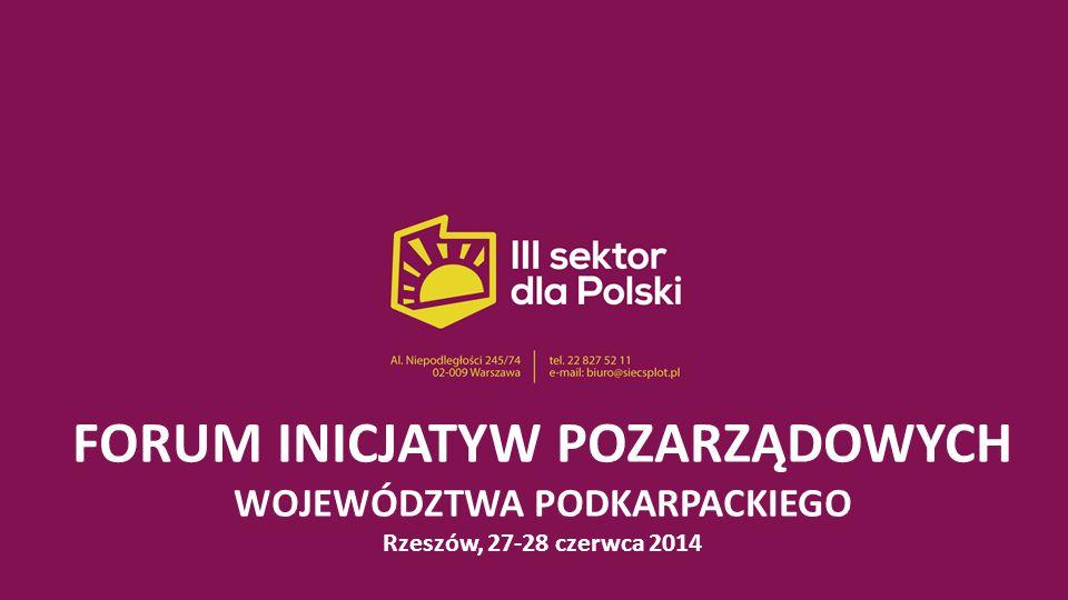 FORUM INICJATYW POZARZĄDOWYCH WOJEWÓDZTWA PODKARPACKIEGO Rzeszów, 27-28 czerwca 2014