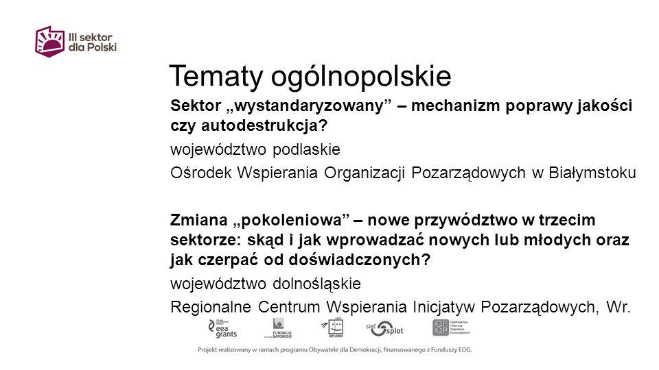 """Tematy ogólnopolskie Sektor """"wystandaryzowany – mechanizm poprawy jakości czy autodestrukcja."""