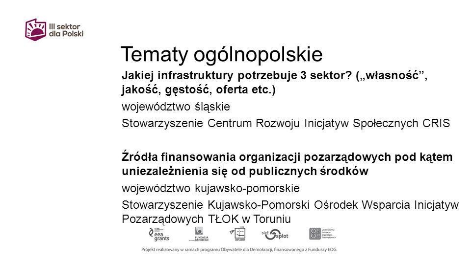 Tematy ogólnopolskie Jakiej infrastruktury potrzebuje 3 sektor.
