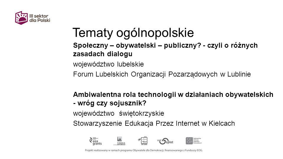 Tematy ogólnopolskie Społeczny – obywatelski – publiczny.