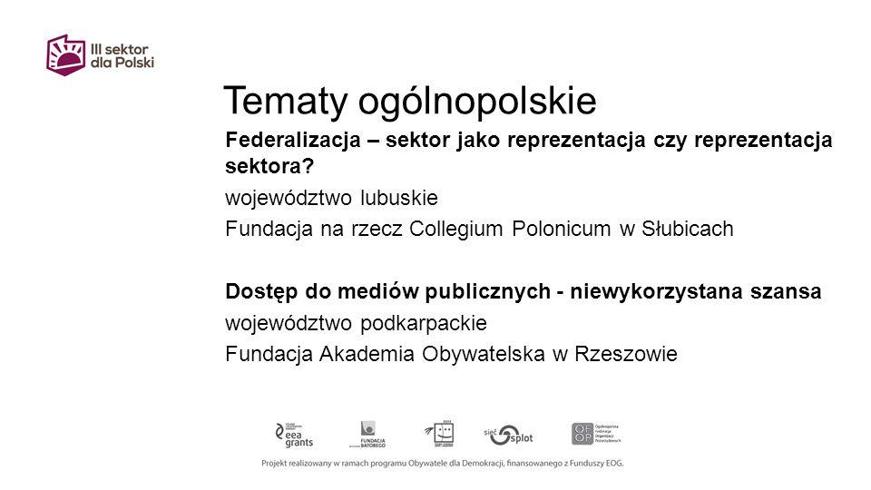Tematy ogólnopolskie Federalizacja – sektor jako reprezentacja czy reprezentacja sektora.