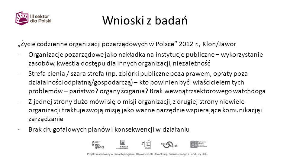 """Wnioski z badań """"Życie codzienne organizacji pozarządowych w Polsce 2012 r., Klon/Jawor -Organizacje pozarządowe jako nakładka na instytucje publiczne – wykorzystanie zasobów, kwestia dostępu dla innych organizacji, niezależność -Strefa cienia / szara strefa (np."""