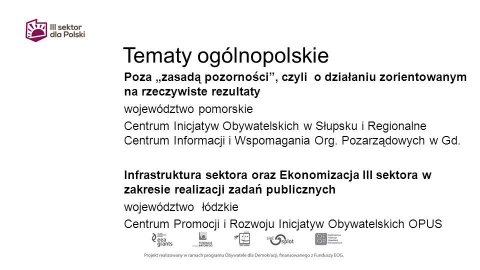 """Tematy ogólnopolskie Poza """"zasadą pozorności , czyli o działaniu zorientowanym na rzeczywiste rezultaty województwo pomorskie Centrum Inicjatyw Obywatelskich w Słupsku i Regionalne Centrum Informacji i Wspomagania Org."""
