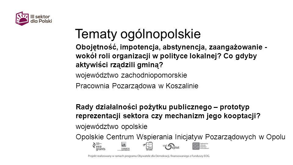 Tematy ogólnopolskie Obojętność, impotencja, abstynencja, zaangażowanie - wokół roli organizacji w polityce lokalnej.